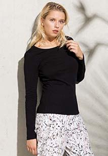 T-shirt coton BIO col rond manches longues femme