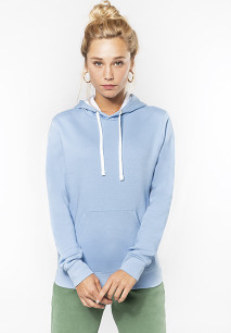 Sweat-shirt capuche contrastée femme