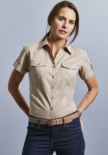 CHEMISE FEMME MANCHES COURTES TWILL ROLL-UP