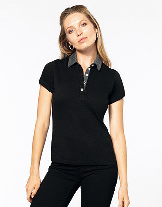Polo jersey bicolore femme
