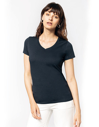 T-shirt Supima® col V manches courtes femme