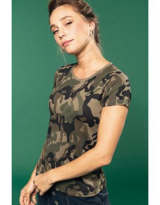 T-shirt camo manches courtes femme