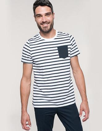 T-shirt rayé marin avec poche manches courtes