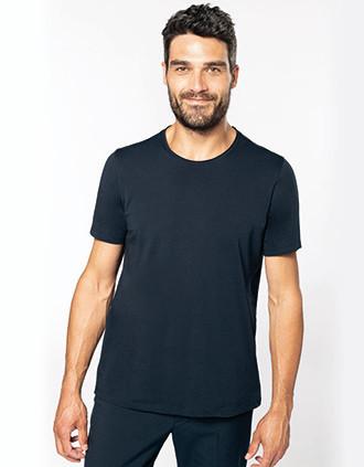 T-shirt Bio col à bords francs manches courtes homme