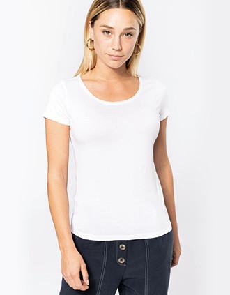 T-shirt Bio col à bords francs manches courtes femme