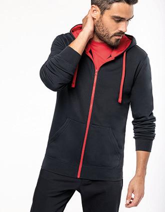 Sweat-shirt zippé capuche contrastée