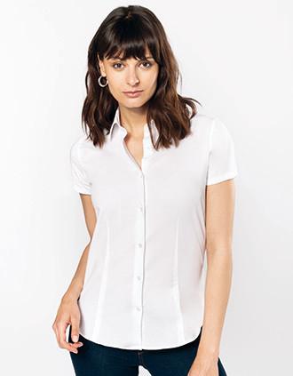 Chemise coton / élasthanne manches courtes femme