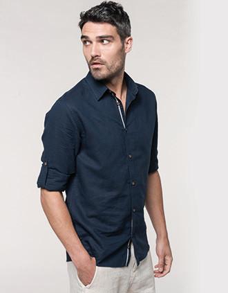 Chemise lin et coton manches longues homme