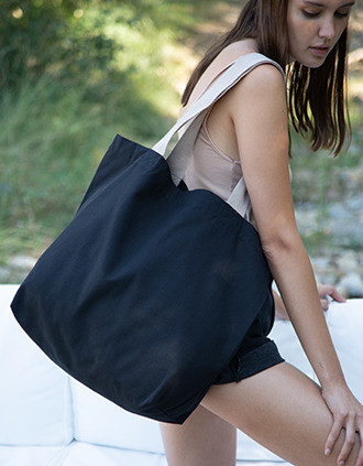 Grand sac shopping recyclé à fond plat