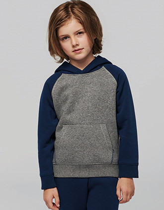 Sweat-shirt capuche bicolore enfant