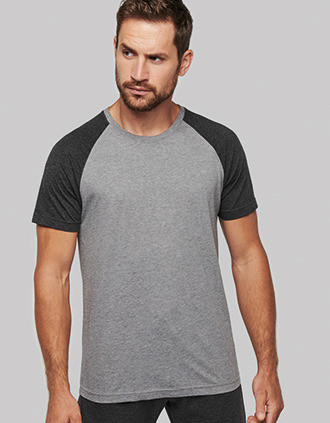 T-shirt triblend bicolore sport manches courtes unisexe