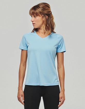 T-shirt de sport manches courtes col v femme